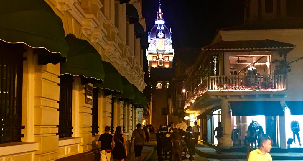 Cartagena old town at night