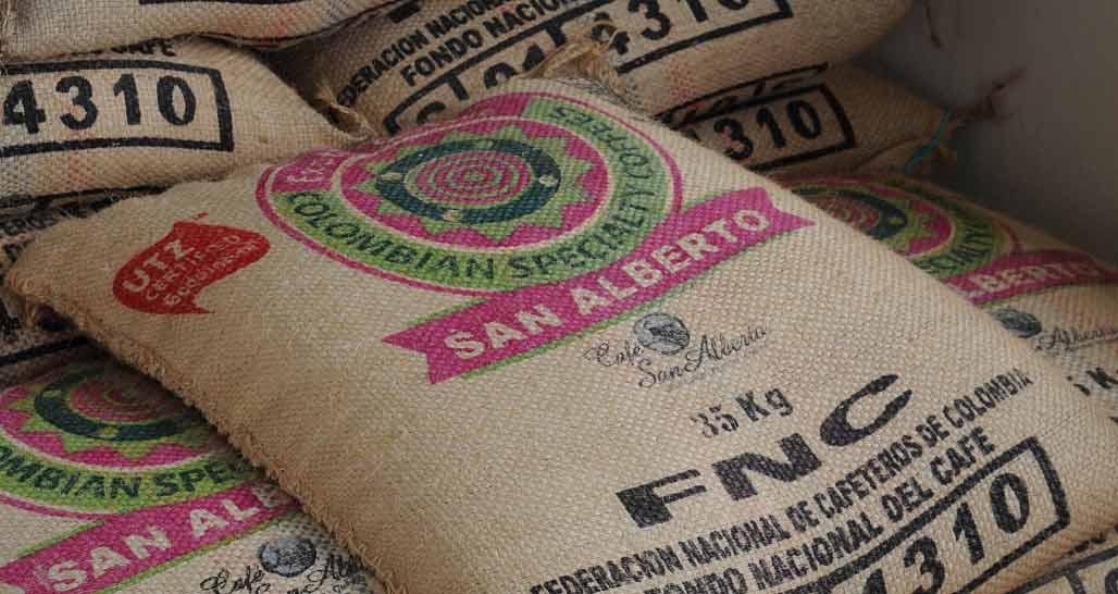 Sacks of Coffee beans ready for export