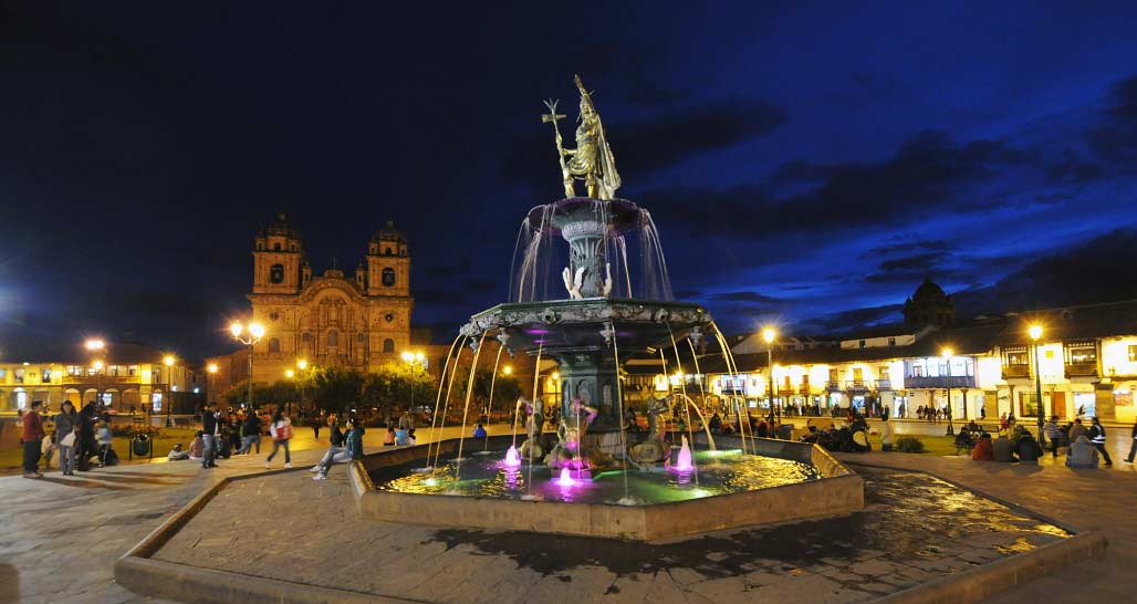 Plaza de Armas at dusk, Cusco