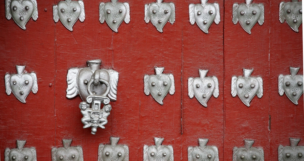 Quito - detail of historic door, old town