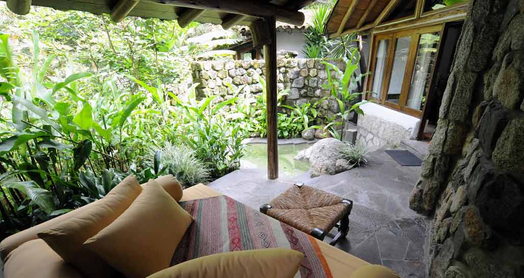 Inkaterra Pueblo - suite with private terrace and hot pool.