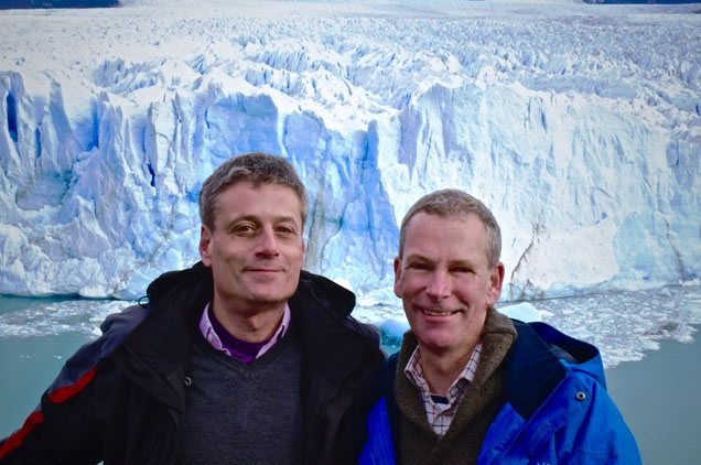 Marc Eschauzier and Simon Dale-Harris at Perito Moreno Glacier in Argentina