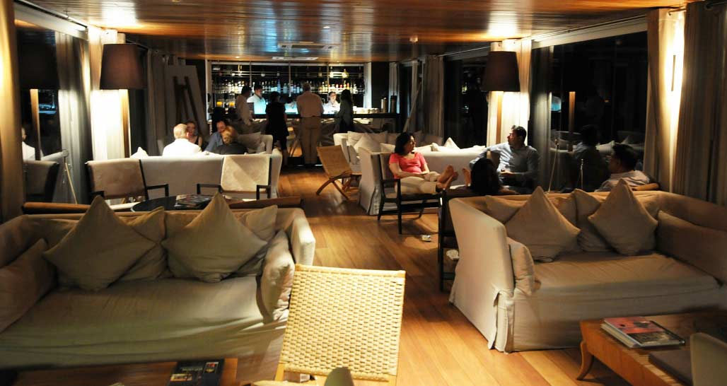 MV Aria - main lounge at night