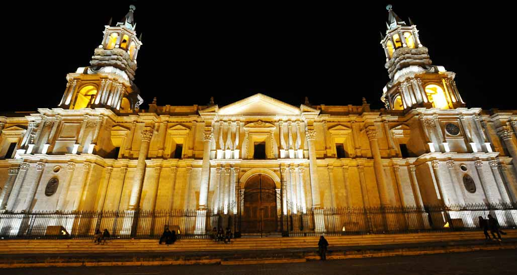 The white stone cathedral facade, Arequipa, Peru