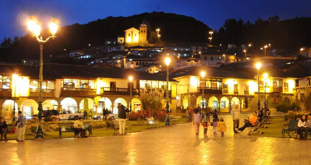 Plaza de Armas, Cusco at night, Peru