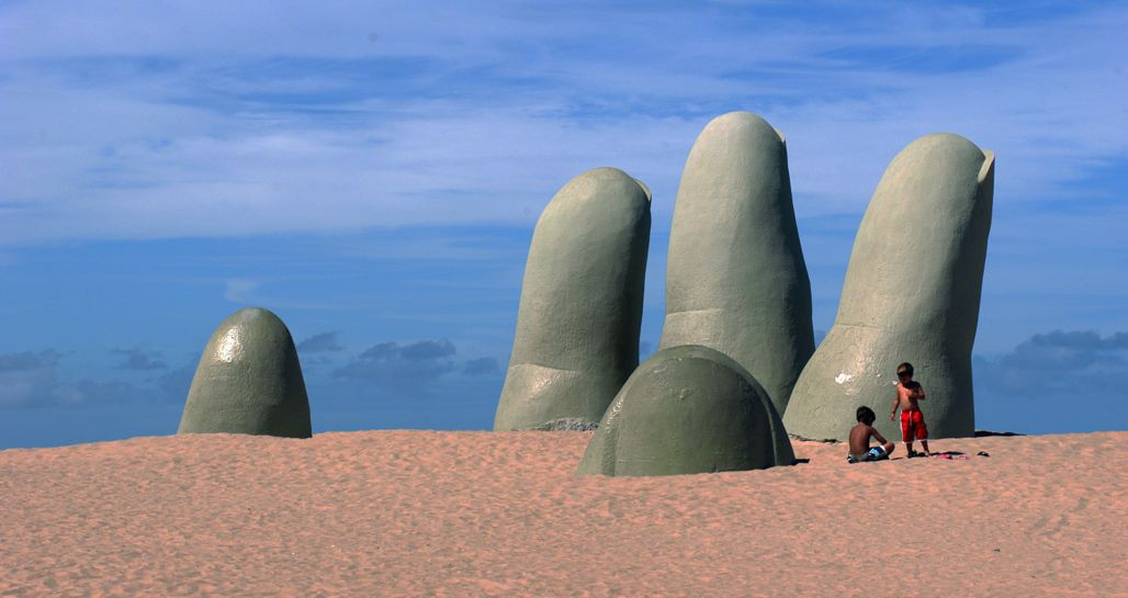 Beach and sculpture, Punta del Este