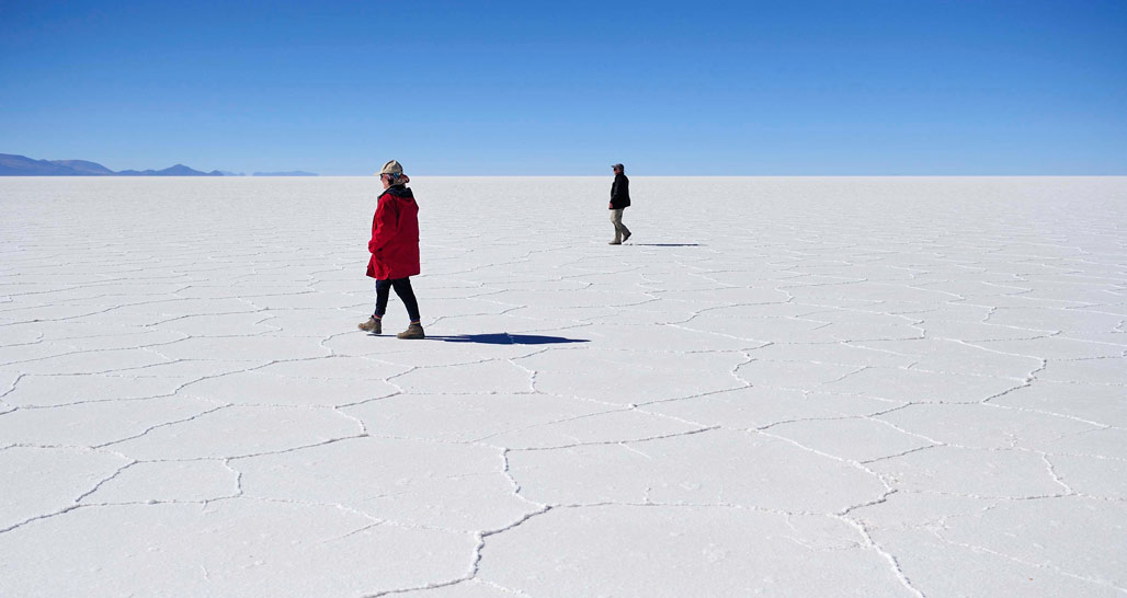 Walking across the Uyuni Salt Flat