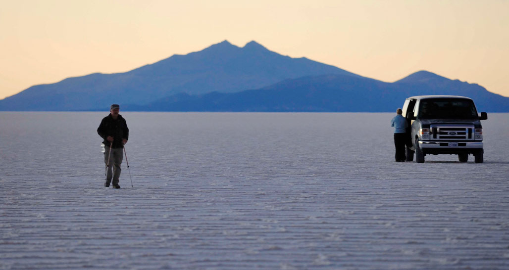 The Salar de Uyuni at sundown